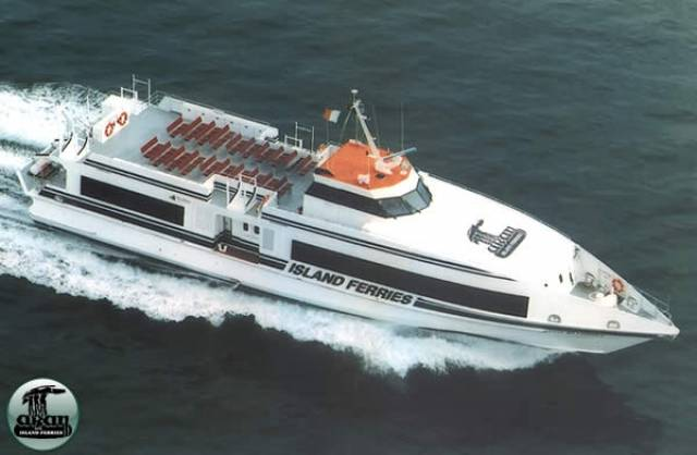 One of the five passenger ferries of Aran Island Ferries, the operator has ceased running a winter service over a dispute about levies with Galway County Council