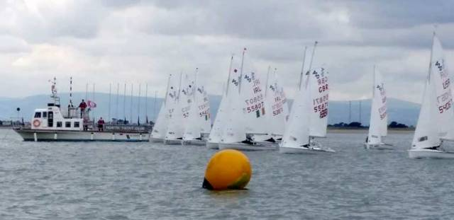 A race start at the 420 Nationals at Howth Yacht Club