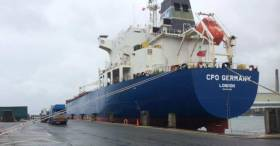 At 184 metres, the CPO Germany is the biggest single screw tanker ever handled by the Port of Larne
