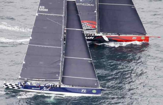Hailing from County Meath, Irish Australian skipper Jim Cooney at the helm of his 100–foot Supermaxi to leeward to Black Jack at the start of the Rolex Sydney-Hobart Race