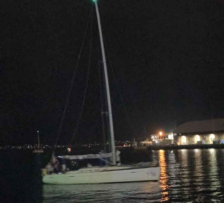 HYC Breakthrough on her way to the dock in Hobart after finishing the 75th Sydney-Hobart Race before midnight