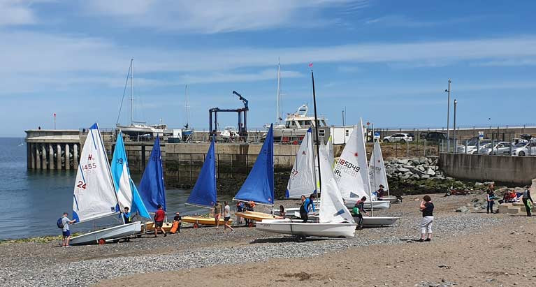 Dinghies prepare to launch at Greystones Harbour