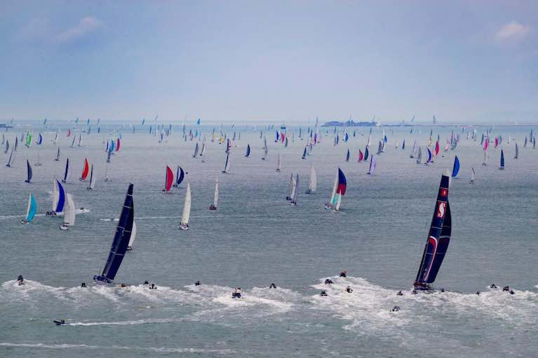 A massive fleet make their way out of the Solent in the 2019 Rolex Fastnet Race