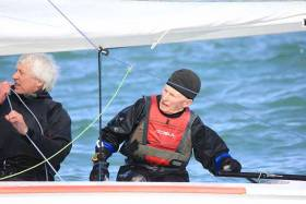 80–year–old Louis Smyth (right) sailing his Fireball with crew Glen Fischer
