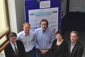 Beaufort Marine Awards principle Investigators Prof Tom Cross, Dr Stephen Hynes, Prof Dave Reid, Prof Fiona Regan and Prof Alan Dobson at the Sea Change Researchers Workshop at the Marine Institute as part of SeaFest 2016