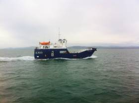 Leinster seaboard scene off the coast of the eastern province as the stout looking carferry Spirit of Rathlin carries out sea trials.