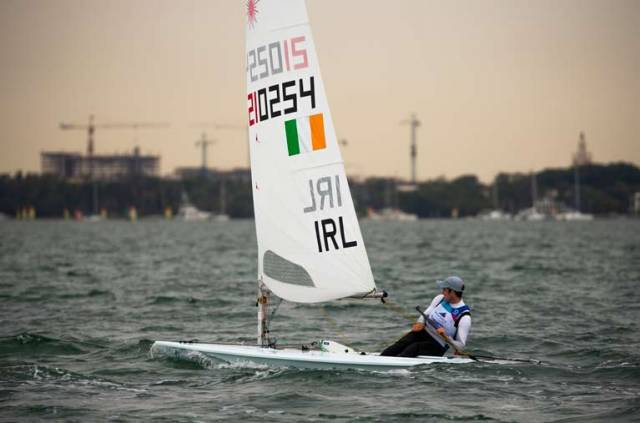 Finn Lynch is sailing fast in the light and shifty conditions in Miami