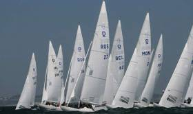 Jonathan Bourke's Dragon team (second from left) prepare for a start in yesterday's opening races of the HM King Juan Carlos Dragon Trophy in Cascais