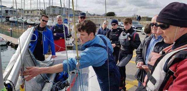 Barry McCartin (centre) at the DMYC Training session for the Fireball fleet