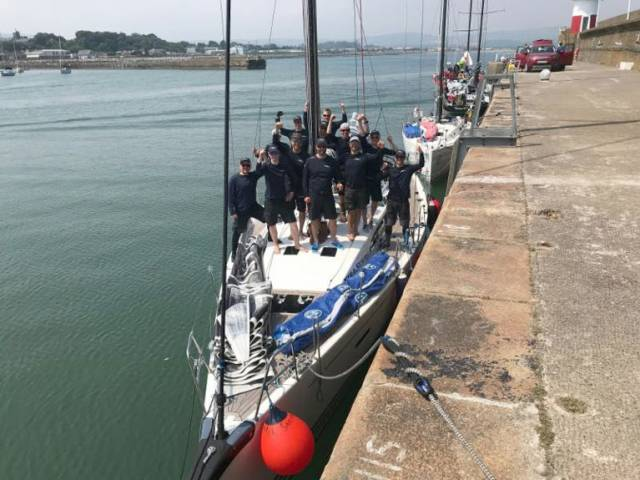 The Winning IRC One in the Volvo Round Ireland Race 2018 in Wicklow Harbour, Arto Linnervuo's Xp-44 Xtra Staerk and the Finnish team from Soukan Venekerho