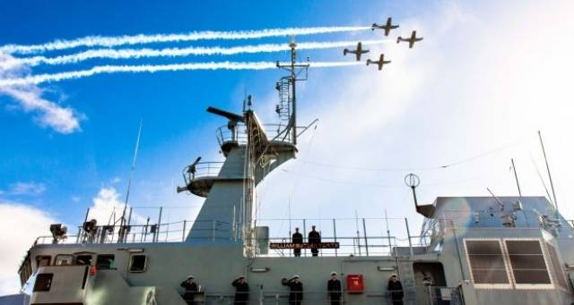 A flyover by the Air Corps at the commissioning of LÉ William Butler Yeats in Galway where on Monday An Taoiseach endorsed plans for another newbuild but equipped with full medical facilties