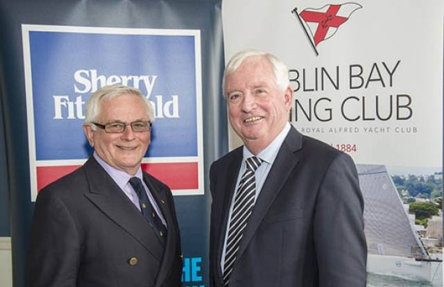 The beginning of a beautiful friendship – top men Chris Moore of Dublin Bay SC (left) and Philip Sherry of Sherry Fitzgerald at yesterday's launch of the new sponsorship. Photo: Brendan Fogarty