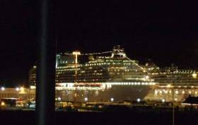 Cruise ship lighting on two vessels in port. Is cruise ship lighting a hazard while at sea? A yacht skipper has complained it is difficult to distinguish navigation lights amongst other deck lights.