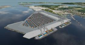CGI of the Port of Cork's €85m development to expand cargoship capacity facilities at Ringaskiddy terminal located in lower Cork Harbour which is now also to include an enlarged Customs Building given the likelihood of a hard Brexit