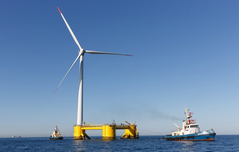 Offshore wind turbines used by Simply Blue Energy off the Cork coast