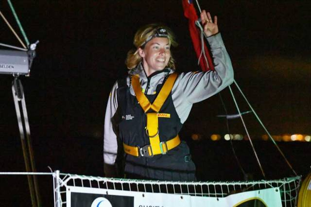 Susie Goodall arriving at the Hobart Golden Globe Race film stop last month