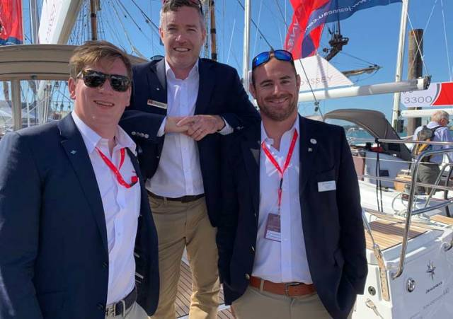 Francis Roche (left), Ross O'Leary (centre) and Joss Walsh on the Jeanneau yacht stand in Southampton