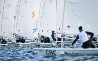 Jamie McMahon (IRL) in a crowded start line in the boys Laser class at the Youth Sailing Worlds in Poland