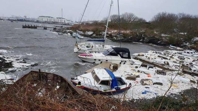 The extent of the damage at Holyhead Marina on 2 March after Storm Emma ripped through