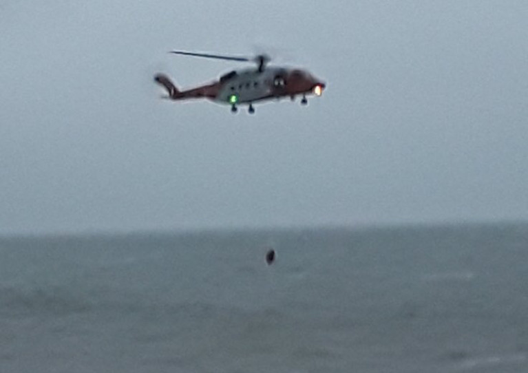 Rescue 116 attends the scene off Greystones this afternoon