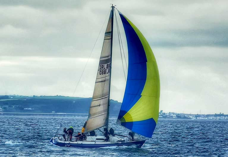 The Belfast Lough IMX 38 eXcession is entered by owners Ruan O'Tiarnagh from Ballyholme YC, John Harrington (Royal Ulster) and Johnny Mulholland, also from Bangor