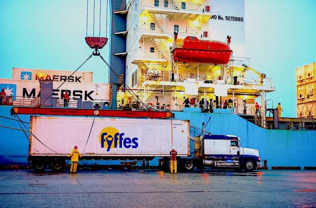 A Fyffes container while in transit