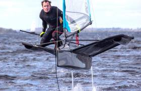 David Kenefick from Royal Cork foiling in his Moth on Lough Ree at the weekend