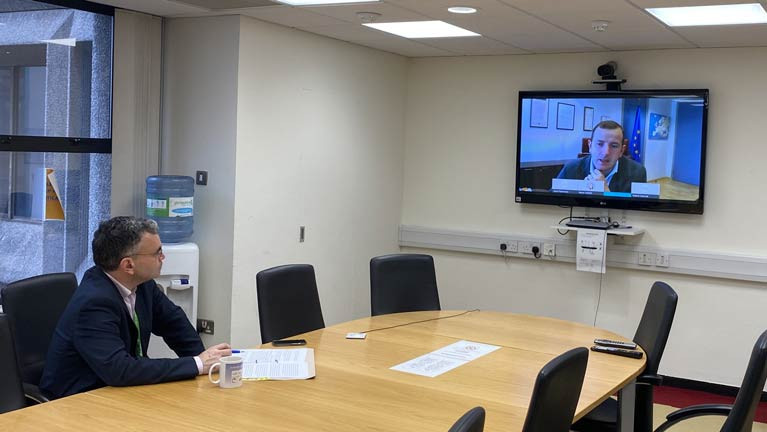 Marine Minister Dara Calleary T.D, (left) held discussions, by video link, with EU Fisheries Commissioner Virginius Sinkevičius