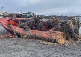 The vessel brought ashore on Inis Oírr earlier today