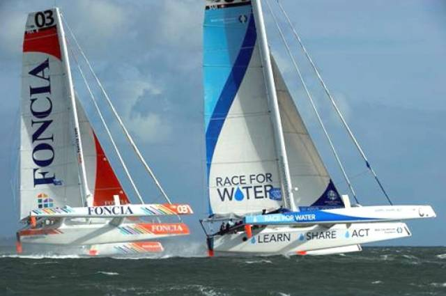 The MOD 70s in their first incarnation in Dublin Bay in 2012. With the class's recent revival, their enthusiasm for the new multihull division in the Volvo Round Ireland Race 2016 has given this classic Irish event additional international prestige