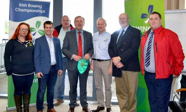 Pictured at the Official Launch of the 2018 Irish Coastal Rowing Championships at the National Rowing Centre, Farran, Cork were from left to right: Orla Creedon Championships Committee Secretary, David Hussey Rowing Ireland Coastal Division Committee, Ted McSweeney Chairperson Rushbrooke Rowing Club (Host Club), Minister for Agriculture, Food and the Marine Mr. Michael Creed T.D , Eddie Farr Chairperson of the Coastal Championships Committee, Kieran Kerr, Chairperson of Rowing Ireland Coastal Division and Shane Russell Regatta Director for the 2018 Championships