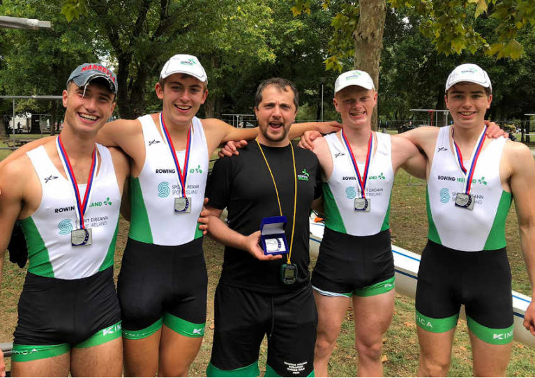 Ireland's men's quad crew with their silver medals in Belgrade earlier today