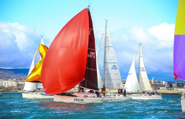 Windjammer (red spinnaker) was the DBSC Cruiser 2 IRC race winner