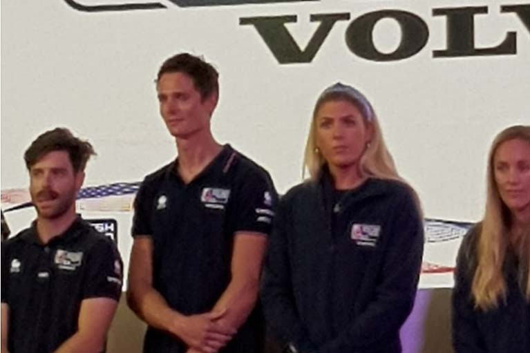 Dun Laoghaire's Saskia Tidey (second from right) on stage at the RYA Dinghy Show with fellow GB team mates at Crystal Palace