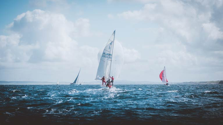 Competitors go downwind in breeze at 2020 Mullagmore Regatta