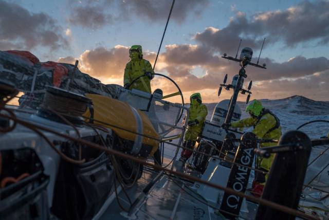 Team Brunel enjoys the beautiful evening light in the Southern Ocean near the most remote point in the world's seas