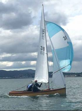 The IDRA 14/38 sailed by Alan Carr/Dana Kilroy of Sutton Dinghy Club
