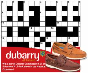 Enter the Afloat.ie online Crossword competition below to be in with a chance to win a pair of Dubarry deck shoes in this free to enter competition