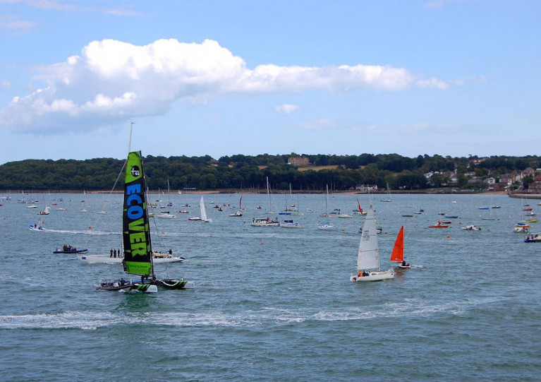 File image of boats racing on the Solent, between Britain's south coast and the Isle of Wight