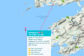 Rockabill VI makes her approach to the Dingle Finish. Scroll down for Tracker link