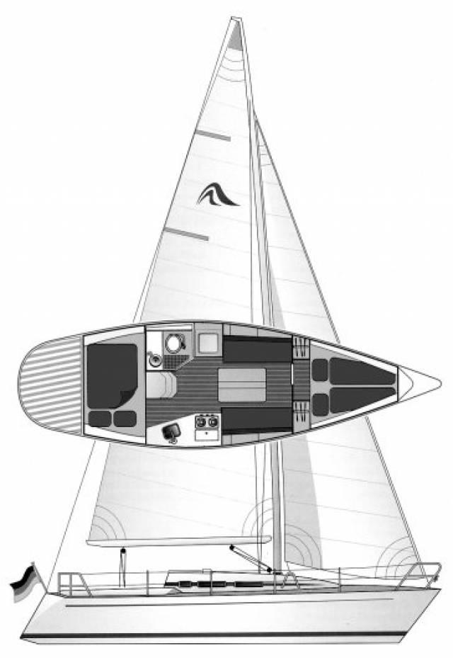 An athwartships double bunk down aft is one of several unusual but effective features of the Hanse 301