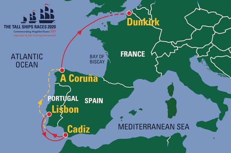 The proposed 2020 Tall Ships Race route