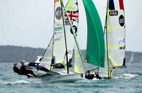 Robert Dickson and Sean Waddiove racing in gold fleet in Auckland