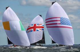 Anthony O'Leary's Ireland team (left) seeks the lead at the Rolex New York Yacht Club Invitational Cup in Irish designed IC37s