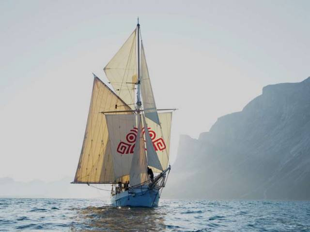 Ilen in gentle conditions in Greenland's Umanap Surdlua fjord this week, when the opportunity was taken to set every sail in the ship