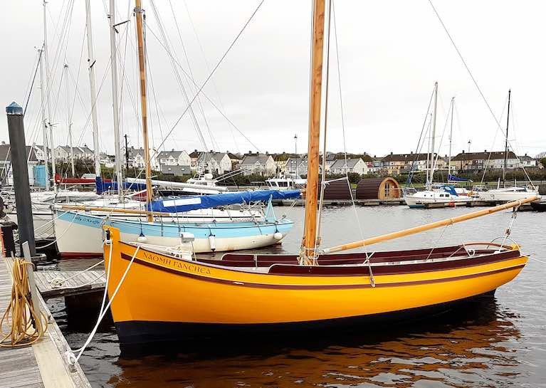 Local products….the 25ft Shannon Hooker Sally O'Keeffe (left) was community-built in 2015 in Querrin on the Loop Head Peninsula near Kilrush under the guidance of Steve Morris, while the new 24ft Galway Bay Gleoiteog Naomh Fanchea has been built in Steve's busy boatyard in Kilrush itself.