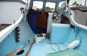 The deck and bulwarks of Michael O'Brien's boat Bluebird II, which was found empty the evening before his remains were recovered