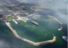 An artist's impression provides an idea of what cruise ships might look like arriving into Dun Laoghaire harbour