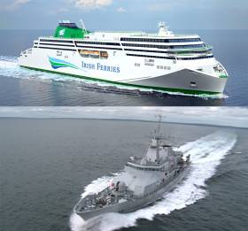 Top - the new Irish Ferries William Butler Yeats and above the Navy's new patrol vessel William Butler Yeats