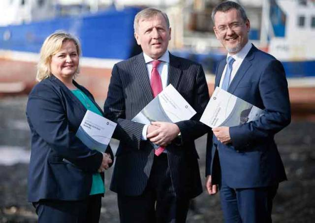 Trudy McIntyre, Chair of The National Inshore Fisheries Forum, Minister for Agriculture, Food and the Marine is Michael Creed, TD. and Jim O Toole, Chief Executive Officer, Bord Iascaigh Mhara, launching the strategy in Skerries
